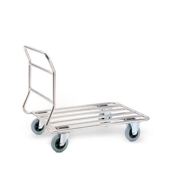 Edelstahl Stirnwandwagen mit Rohrladefläche