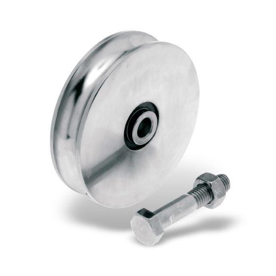 Schiebetorrollen Stahl mit runder Rille
